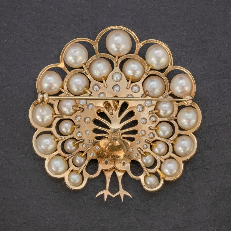 VINTAGE PEARL PEACOCK BROOCH 14CT GOLD BACK