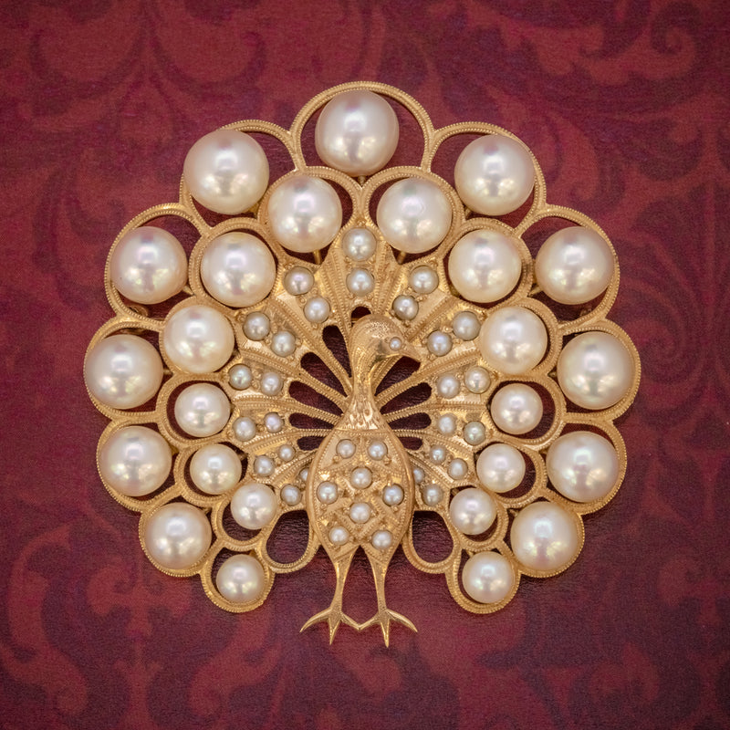 VINTAGE PEARL PEACOCK BROOCH 14CT GOLD  COVER