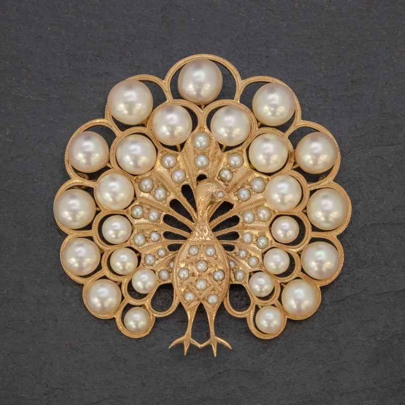 VINTAGE PEARL PEACOCK BROOCH 14CT GOLD FRONT