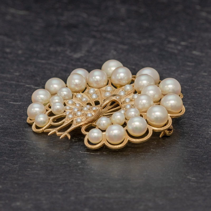 VINTAGE PEARL PEACOCK BROOCH 14CT GOLD SIDE
