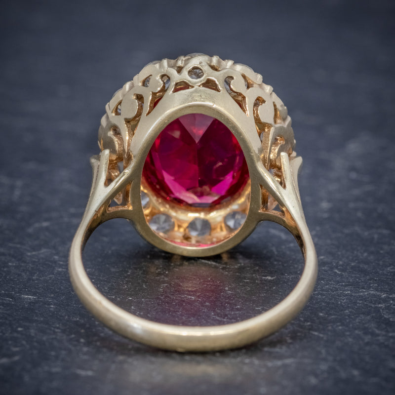 VINTAGE RUBY CLUSTER RING 9CT GOLD 6.5CT RUBY DATED 1971 BACK
