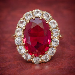 VINTAGE RUBY CLUSTER RING 9CT GOLD 6.5CT RUBY DATED 1971 cover