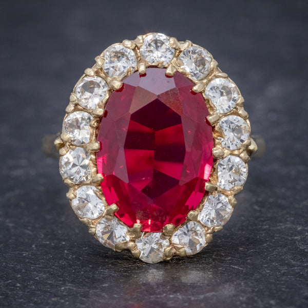 VINTAGE RUBY CLUSTER RING 9CT GOLD 6.5CT RUBY DATED 1971 FRONT