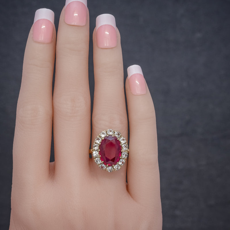 VINTAGE RUBY CLUSTER RING 9CT GOLD 6.5CT RUBY DATED 1971 HAND