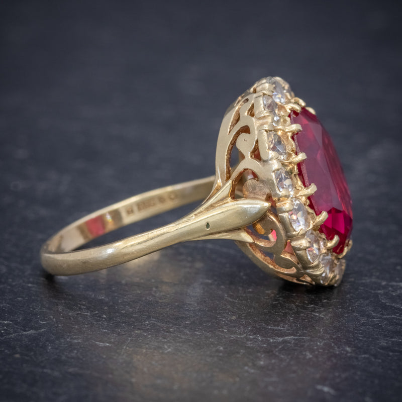 VINTAGE RUBY CLUSTER RING 9CT GOLD 6.5CT RUBY DATED 1971 SIDE2