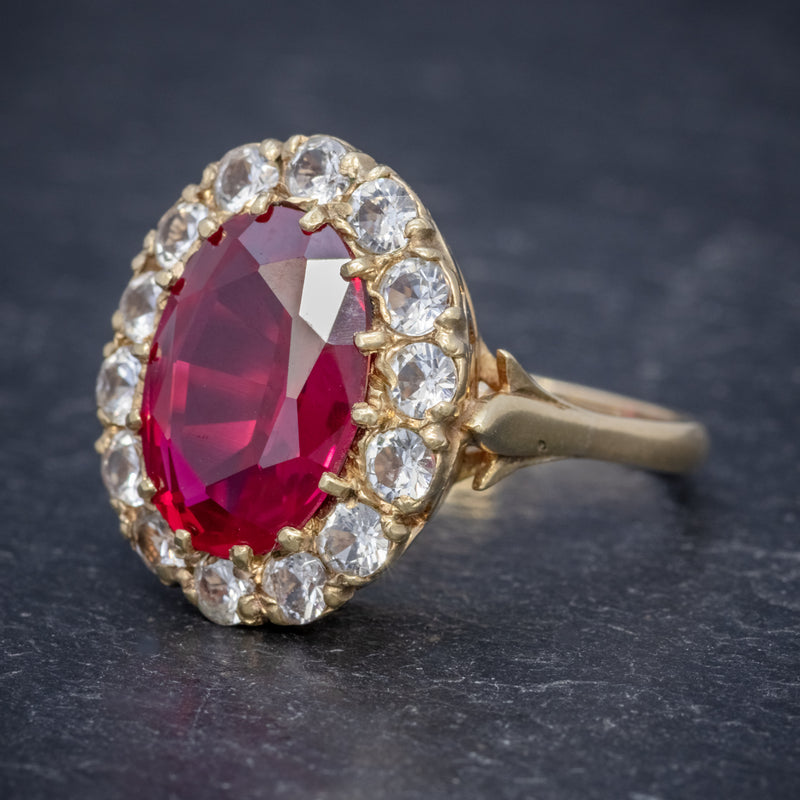 VINTAGE RUBY CLUSTER RING 9CT GOLD 6.5CT RUBY DATED 1971 SIDE
