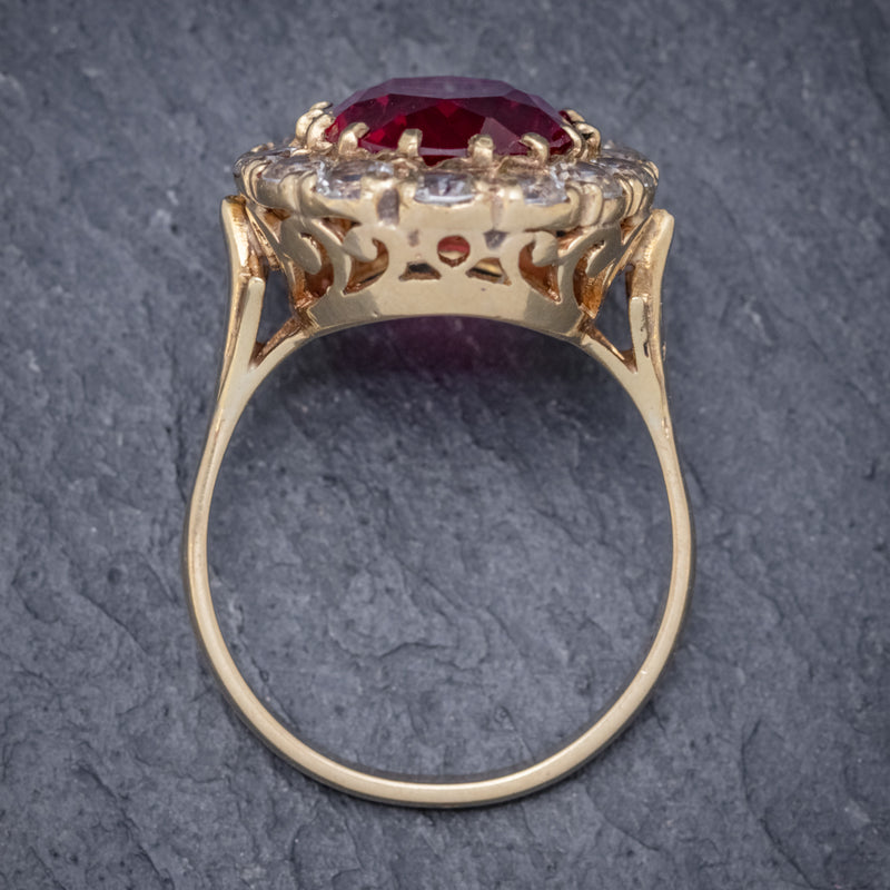 VINTAGE RUBY CLUSTER RING 9CT GOLD 6.5CT RUBY DATED 1971 TOP