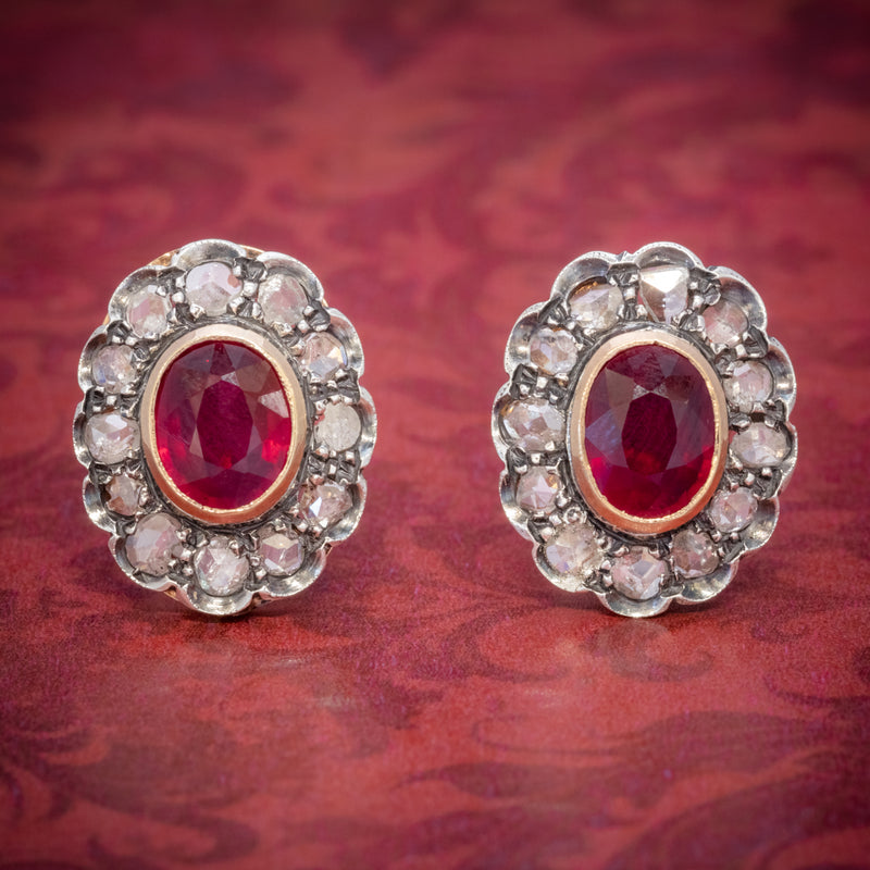 VINTAGE RUBY DIAMOND EARRINGS 3.50CT RUBY 3CT DIAMONDS 18CT GOLD CIRCA 1930 COVER