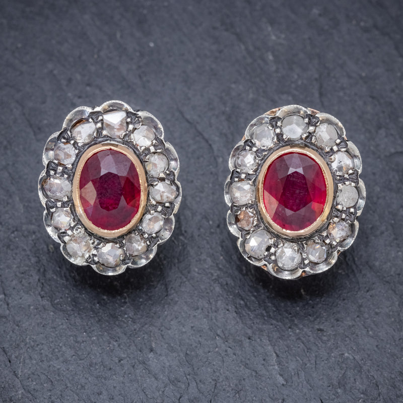 VINTAGE RUBY DIAMOND EARRINGS 3.50CT RUBY 3CT DIAMONDS 18CT GOLD CIRCA 1930 FRONT