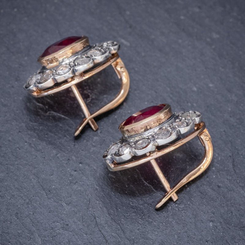 VINTAGE RUBY DIAMOND EARRINGS 3.50CT RUBY 3CT DIAMONDS 18CT GOLD CIRCA 1930 SIDE