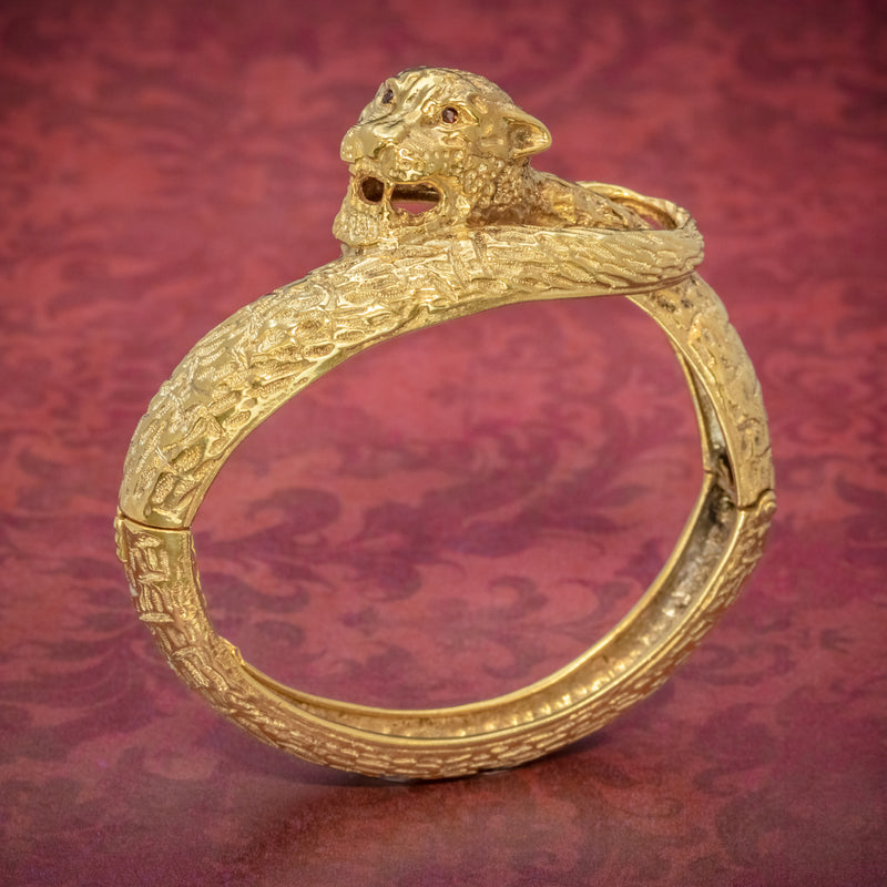 VINTAGE TIGER BANGLE 18CT GOLD ON SILVER CIRCA 1930 COVER