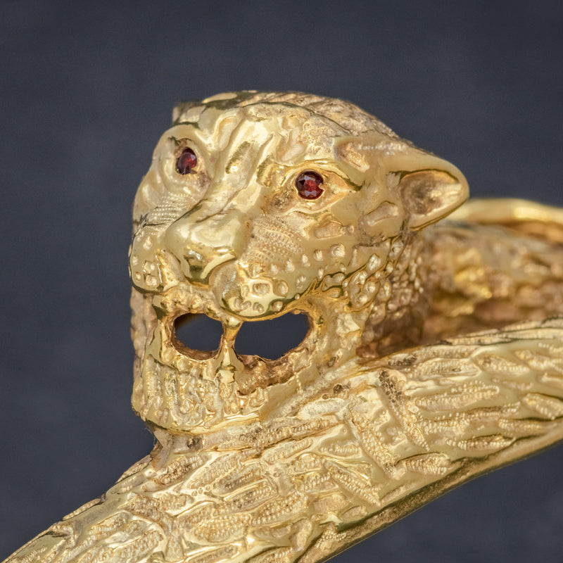 VINTAGE TIGER BANGLE 18CT GOLD ON SILVER CIRCA 1930 HEAD