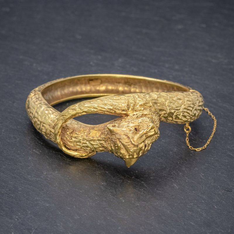 VINTAGE TIGER BANGLE 18CT GOLD ON SILVER CIRCA 1930 SIDE