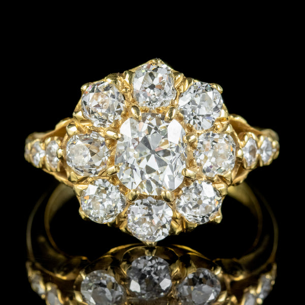 Victorian Style Diamond Cluster Ring 3ct Of Diamond