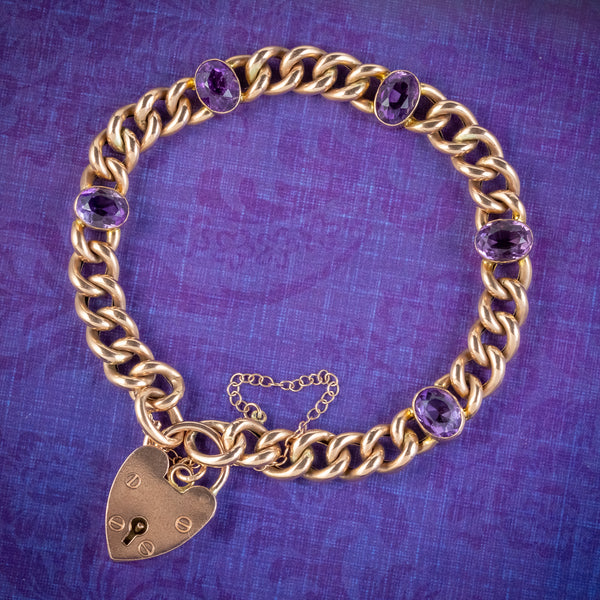 Vintage-Amethyst-Curb-Bracelet-9ct-Gold-Heart-Padlock-7.5ct-Of-Amethyst-COVER