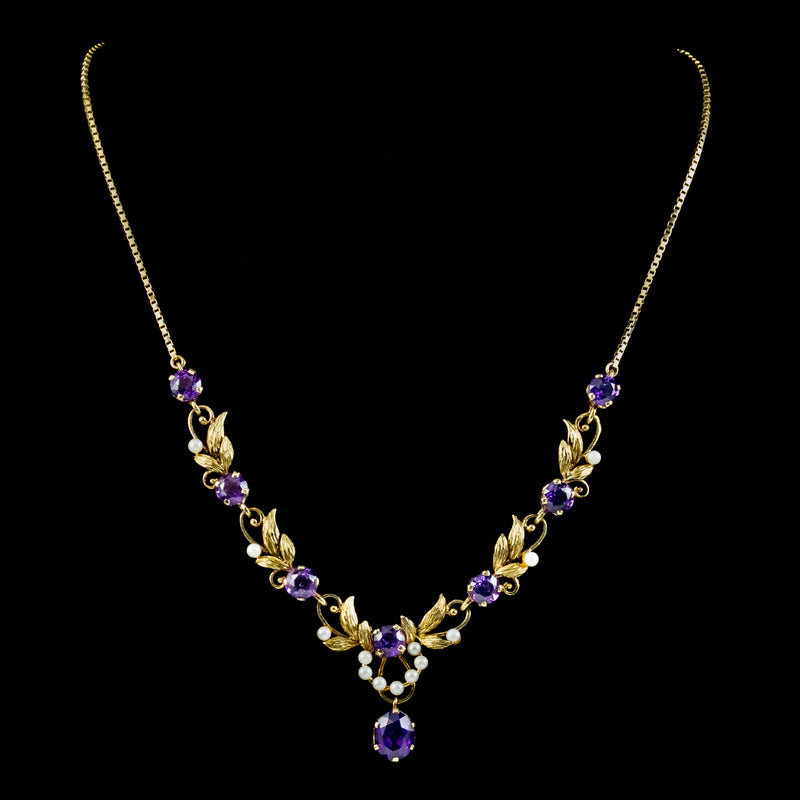 Vintage Amethyst Pearl Lavaliere Necklace 9ct Gold
