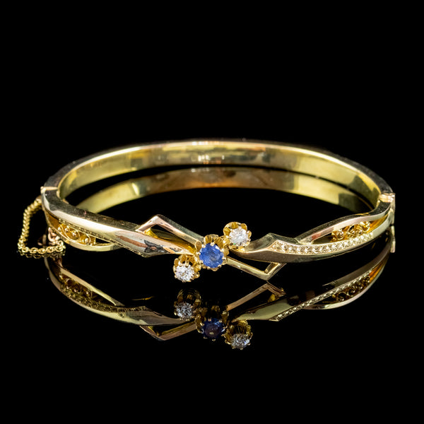Vintage Sapphire Diamond Bangle 18ct Gold