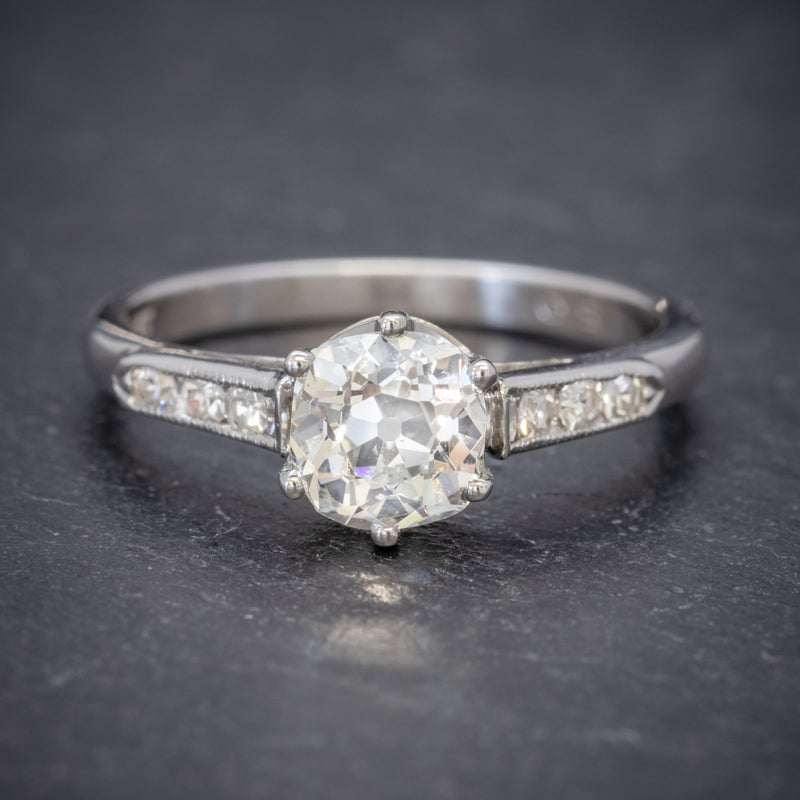 Vintage Diamond Solitaire Ring Platinum 1.25ct Old Cut Diamond Cert FRONT