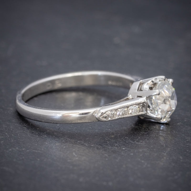 VINTAGE DIAMOND SOLITAIRE RING PLATINUM 1.25CT OLD CUT DIAMOND CERT SIDE2
