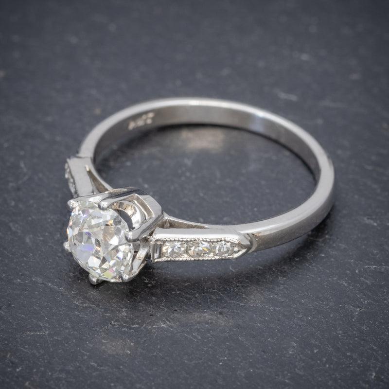 VINTAGE DIAMOND SOLITAIRE RING PLATINUM 1.25CT OLD CUT DIAMOND CERT TOP