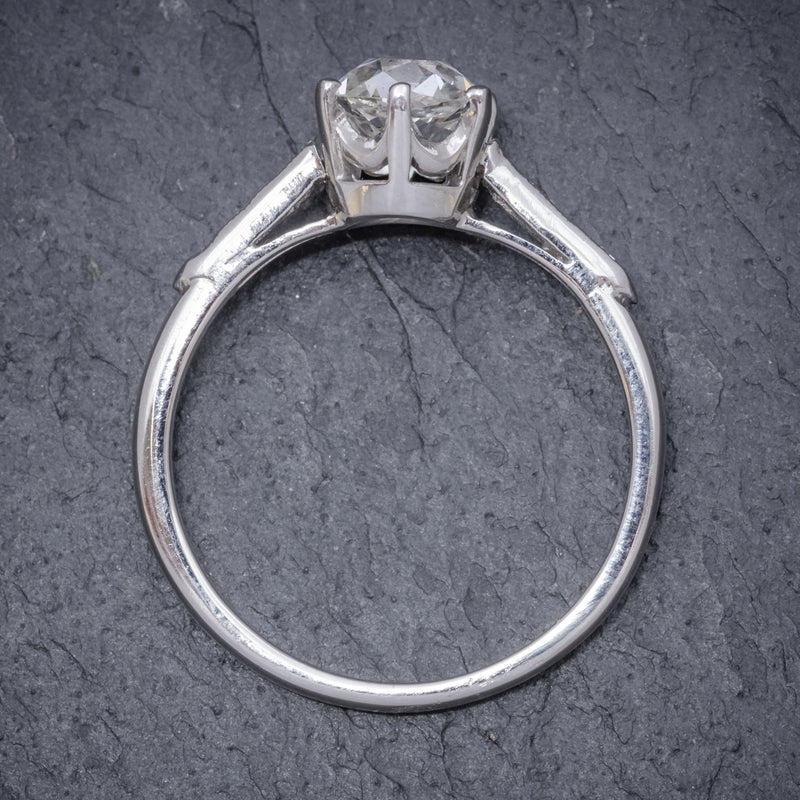 VINTAGE DIAMOND SOLITAIRE RING PLATINUM 1.25CT OLD CUT DIAMOND CERT STOOD