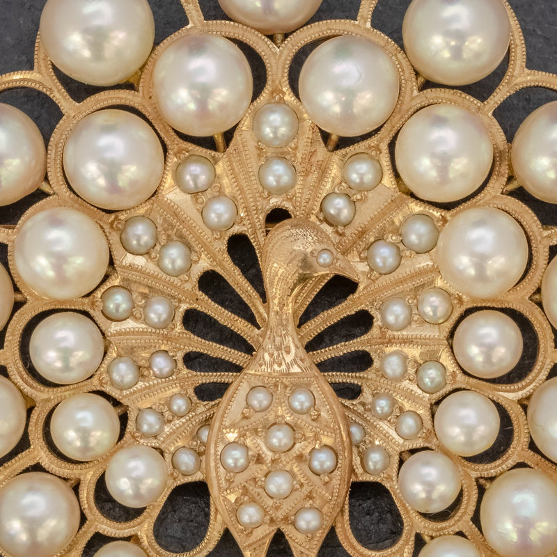 VINTAGE PEARL PEACOCK BROOCH 14CT GOLD CLOSE