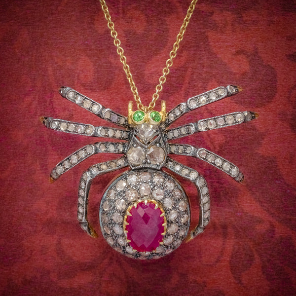 VINTAGE SPIDER PENDANT NECKLACE 2.80CT RUBY 18CT GOLD SILVER BROOCH COVER