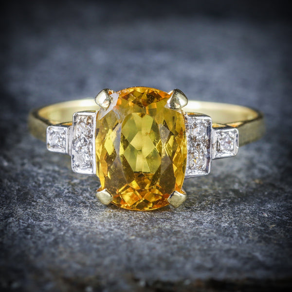 YELLOW BERYL AND DIAMOND TRILOGY RING 18CT GOLD ENGAGEMENT FRONT