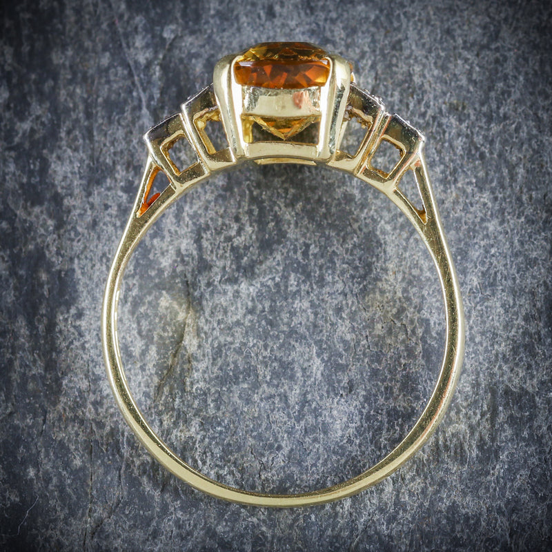YELLOW BERYL AND DIAMOND TRILOGY RING 18CT GOLD ENGAGEMENT TOP