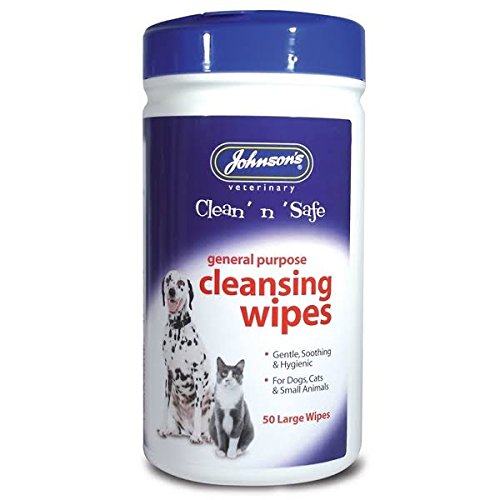 Johnsons Clean 'N' Safe Cleansing Wipes For Cats And Dogs, 50 Wipes