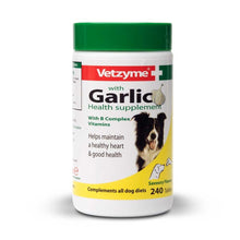 Load image into Gallery viewer, Vetzyme Garlic Health Supplement Tablets For Dogs, Healthy Heart, Vitality For Dogs, 240 Tablets