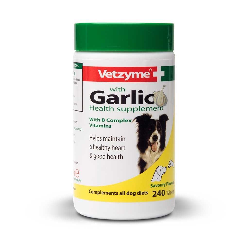 Vetzyme Garlic Health Supplement Tablets For Dogs, Healthy Heart, Vitality For Dogs, 240 Tablets