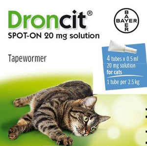 Droncit Spot-On Cat Tapeworm Treatment 0.5 Ml X 4 Tubes
