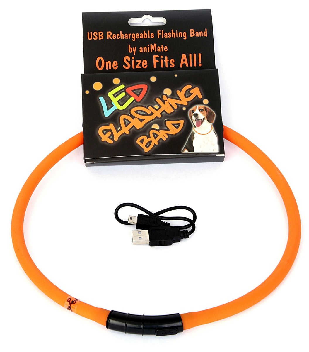 Animate Walking Mate Led Flashing Loop Dog Toy Orange 70Cm