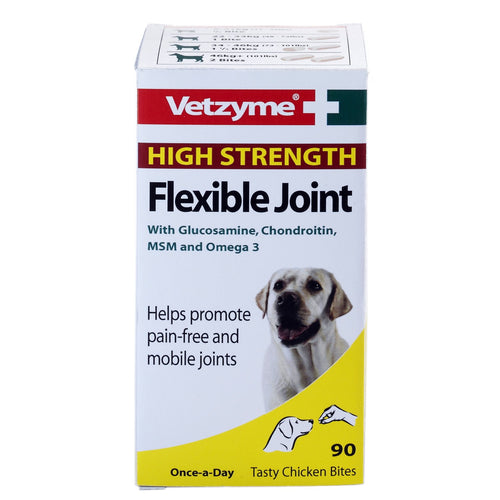 Bob Martin Vetzyme High Strength Flexible Joint For Dogs, 90 Tablets, Tasty Chicken Bites