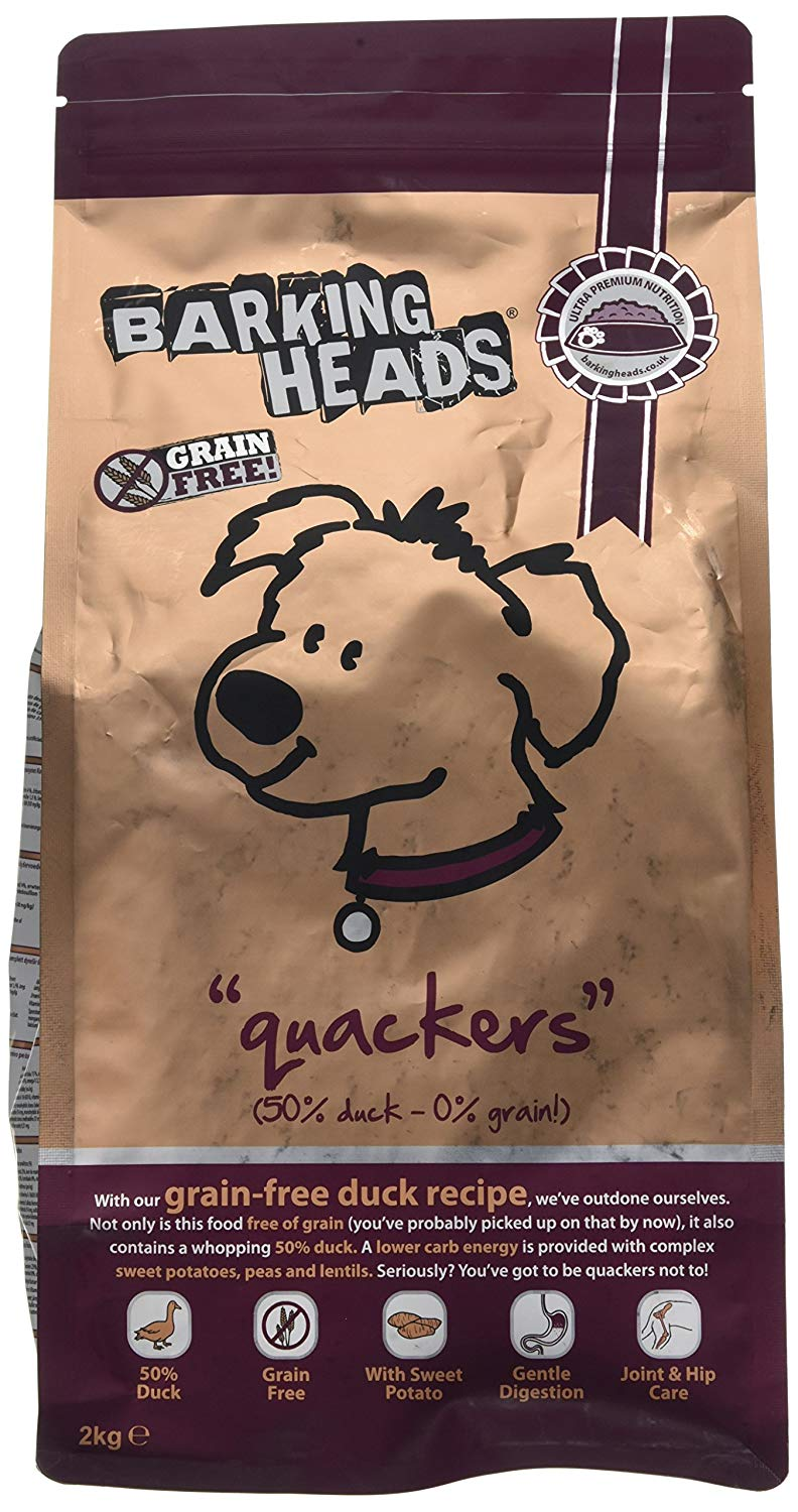 Barking Heads Dog Dry Food Quackers Grain Free Duck 2Kg