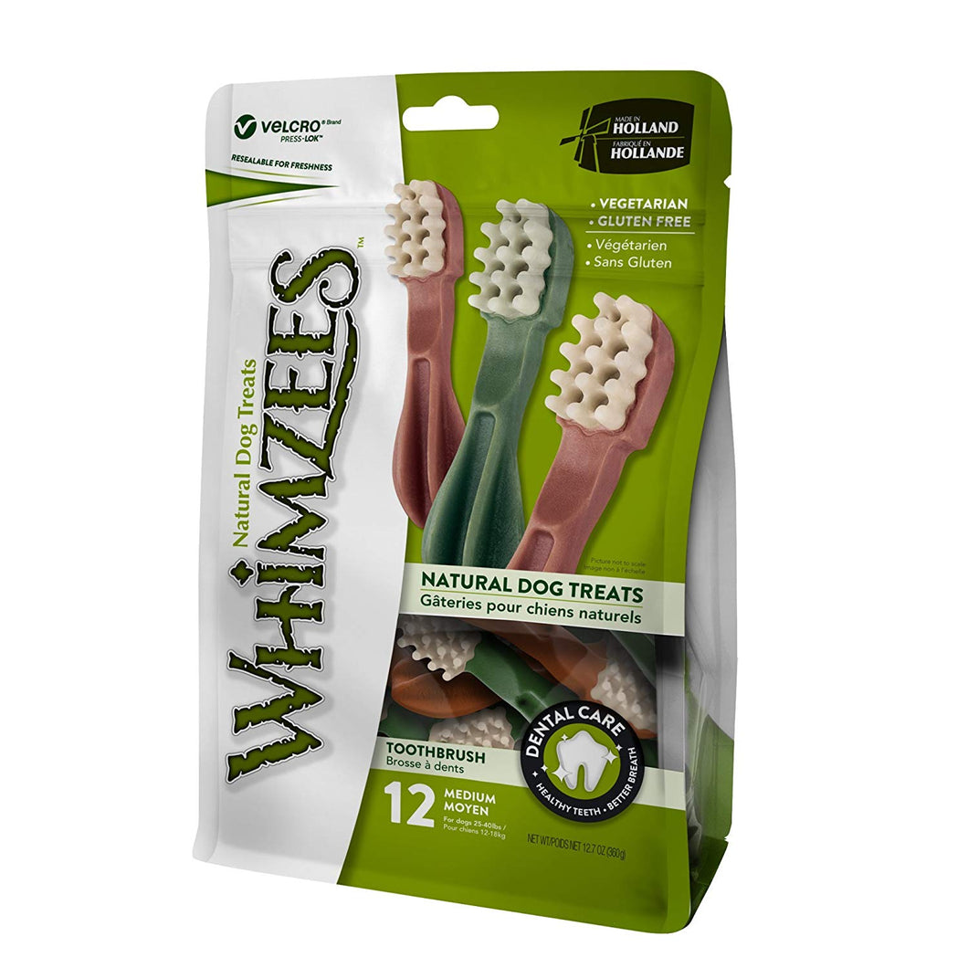 Whimzees Toothbrush Dog Chews Treats (Size: Medium - 12 Pack)