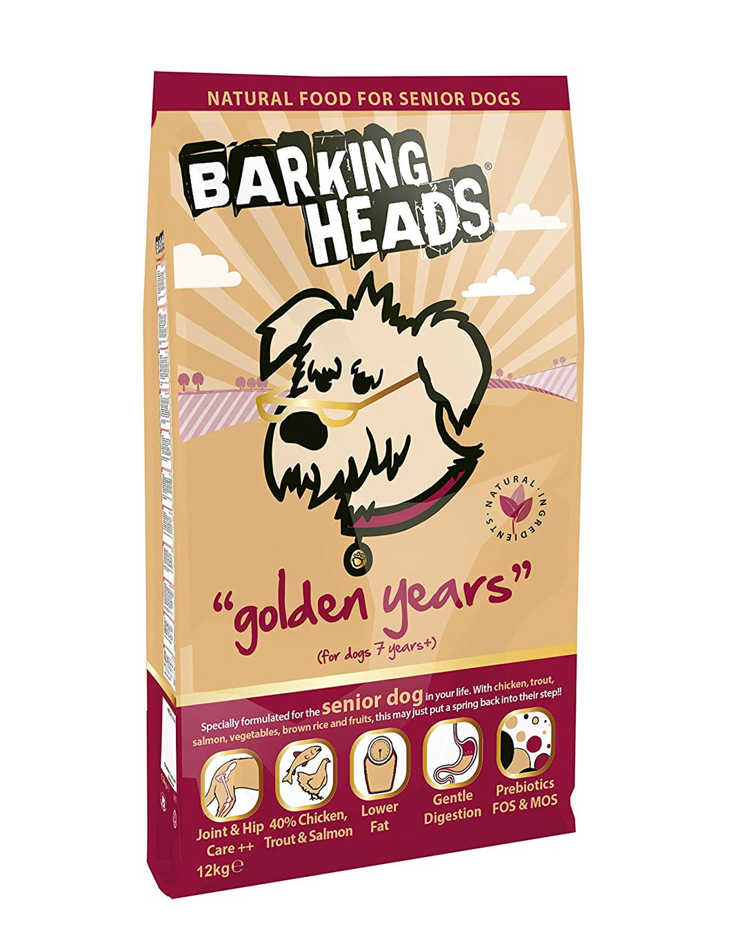 Barking Heads Dog Food Golden Years Senior - Chicken & Salmon 12Kg