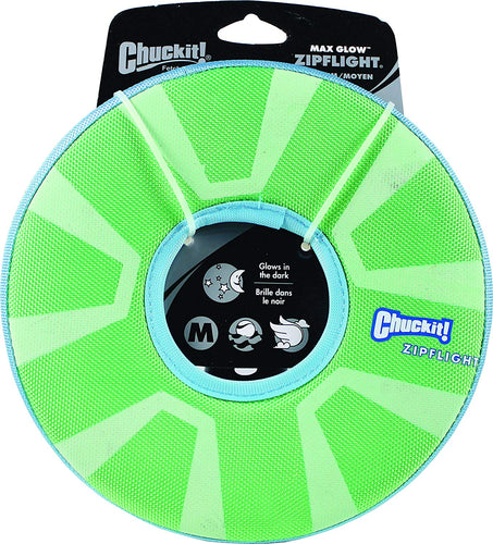Chuckit Zipflight Max Glow Dog Toy Medium 21Cm