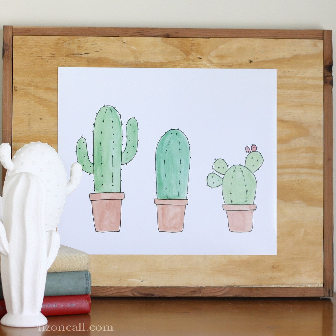 3 Cactus Print - hand drawn, watercolor print available @lizoncall.com