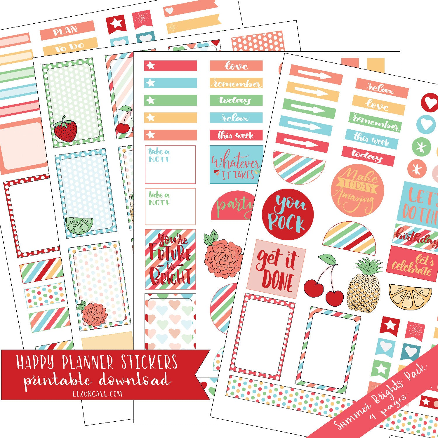 photo about Happy Planner Stickers Printable referred to as Delighted Planner Stickers - Summer season Brights Pack