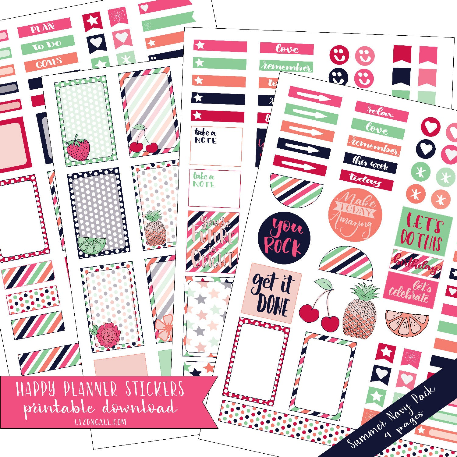 graphic regarding Happy Planner Stickers Printable identified as Joyful Planner Stickers - Summer time Armed service