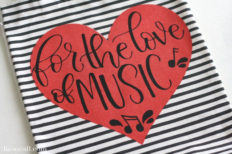 Add a fun touch of DIY to your music bag with this hand lettered for the love of music cut file.