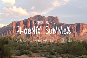 Phoenix Summer font trio. A hand written, relaxed, san serif font featuring 3 different weights. Available at lizoncall.com