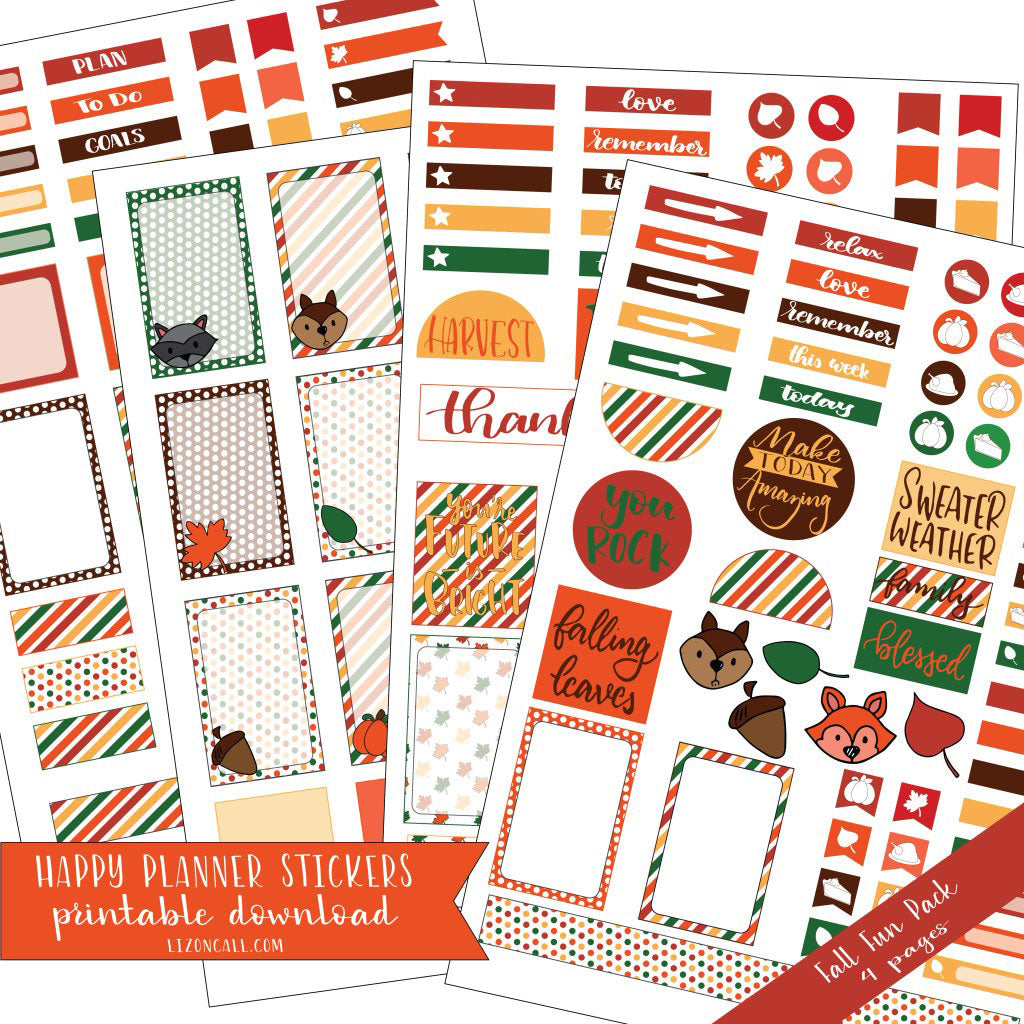 Happy Planner Stickers - Fall & Thanksgiving