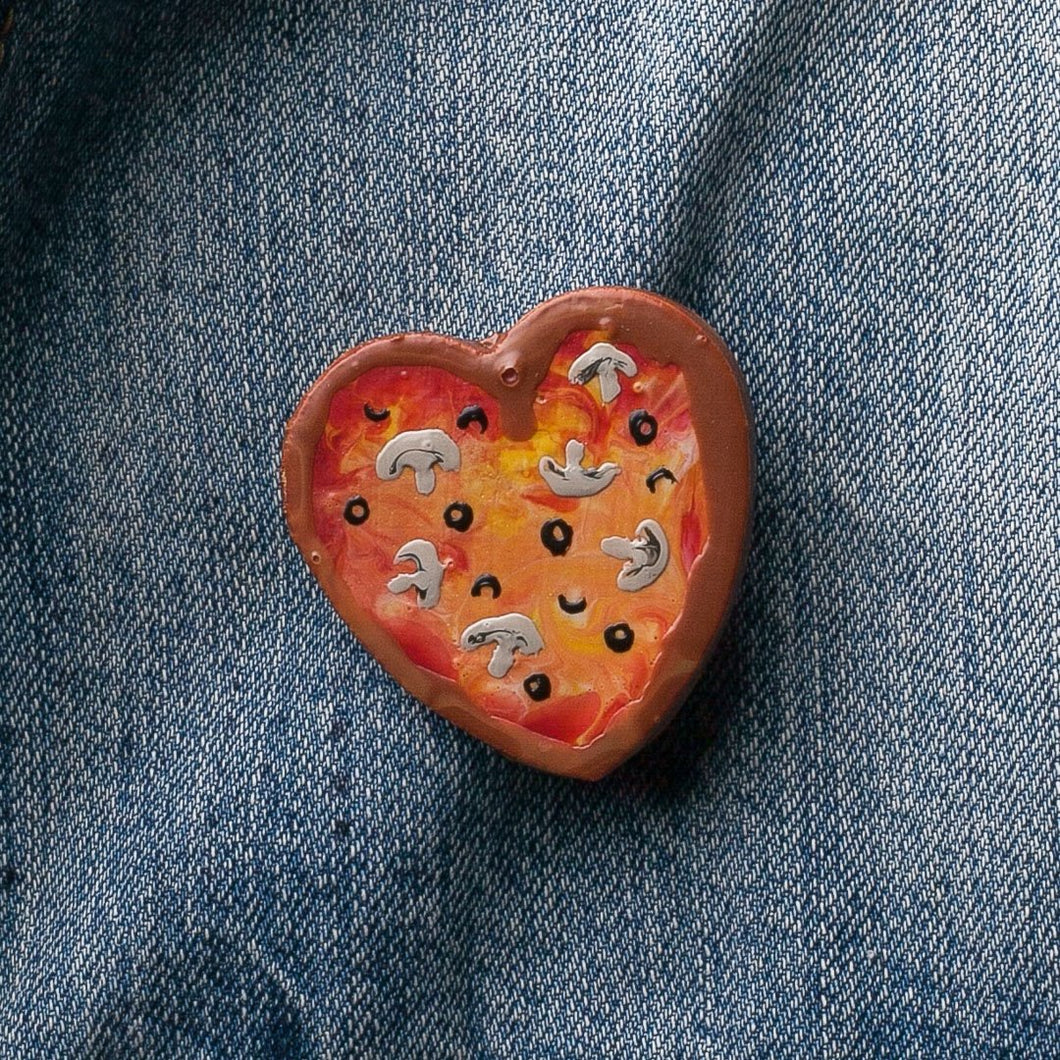GlueBabies Wooden Pizza Heart Pins