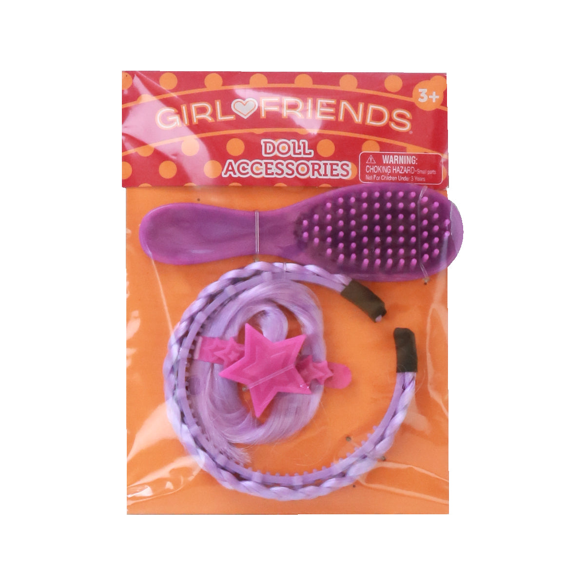 Purple Hair Extensions and Hairbrush - Accessories for 18