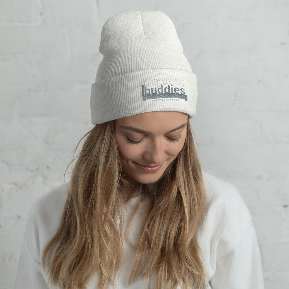 White Mattress Buddies Beanie