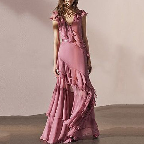 Elegant Stitching Ruffles Design Irregular Hem Evening Dress