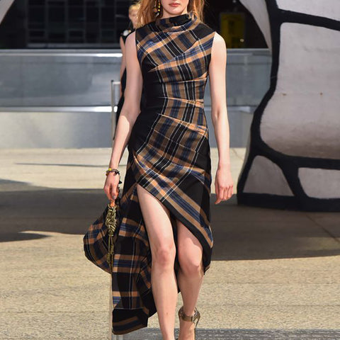 Fashion Sleeveless Plaid Split Dress